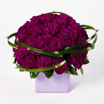 Premium Dark Purple Carnations Arrangement