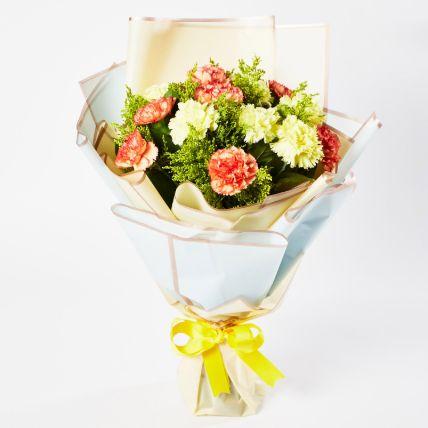 Serene Mixed Carnations Bouquet