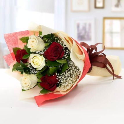 Beauty Of Red N White Roses