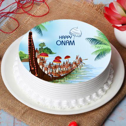 Happy Onam Vallam Kali Photo Cake