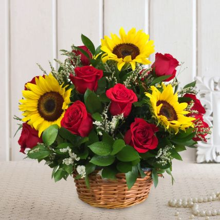 Premium Mixed Flowers Cane Basket