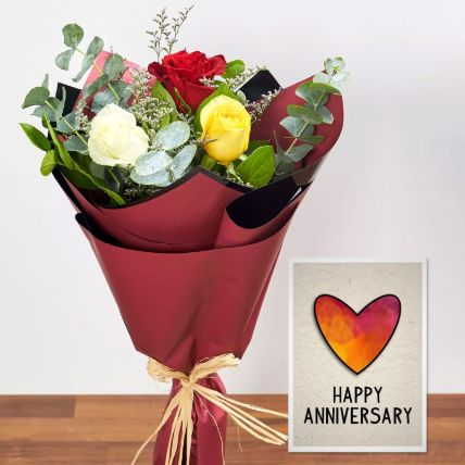 3 Mix Color Roses & Handmade Anniversary Card