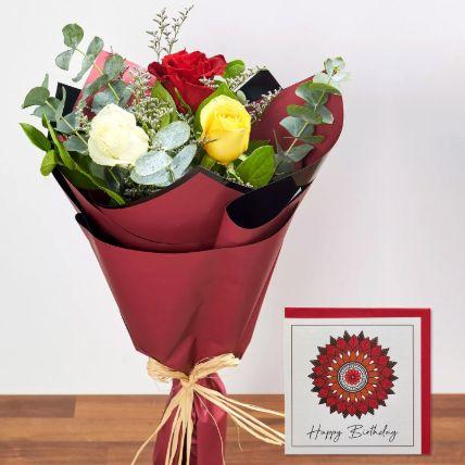 3 Mix Color Roses & Handmade Birthday Card