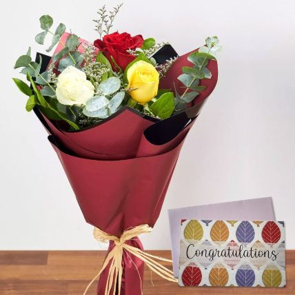 3 Mix Color Roses & Handmade Congratulations Card