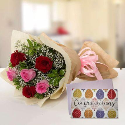 6 Mix Roses Bouquet & Congratulations Card
