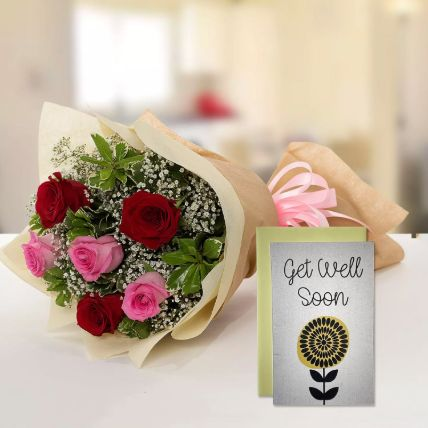 6 Mix Roses Bouquet & Get Well Soon Card