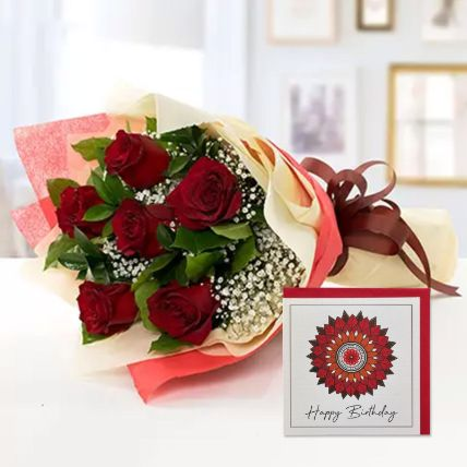 6 Red Roses Bouquet With Handmade Birthday Card