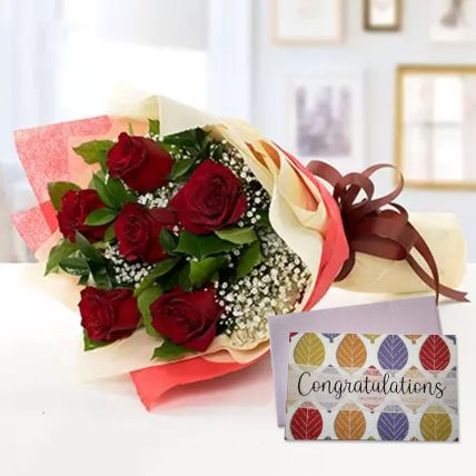 6 Red Roses Bouquet With Handmade Congratulations Card