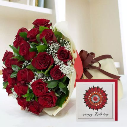 Bouquet of Red Roses & Handmade Birthday Card