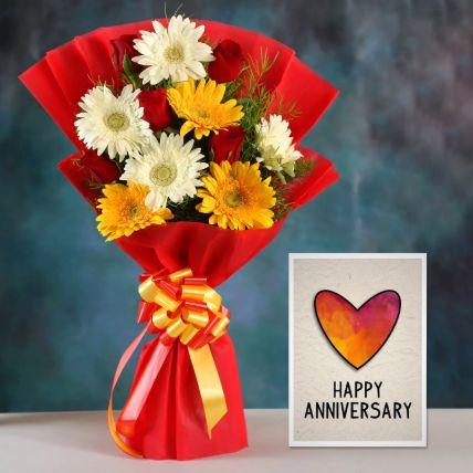 Mix Gerbera Bouquet & Handmade Anniversary Card