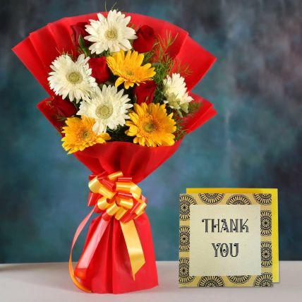 Mix Gerbera Bouquet & Handmade Thank You Card