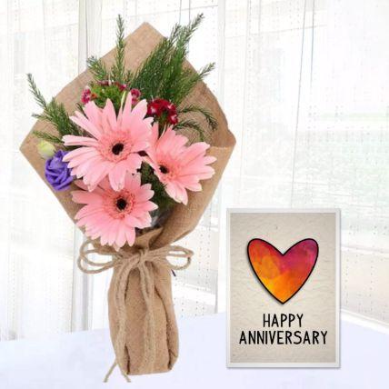 Pink Gerbera Chic Bunch & Handmade Anniversary Card