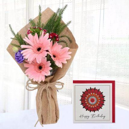 Pink Gerbera Chic Bunch & Handmade Birthday Card