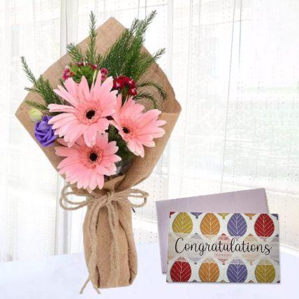 Pink Gerbera Chic Bunch & Handmade Congratulations Card