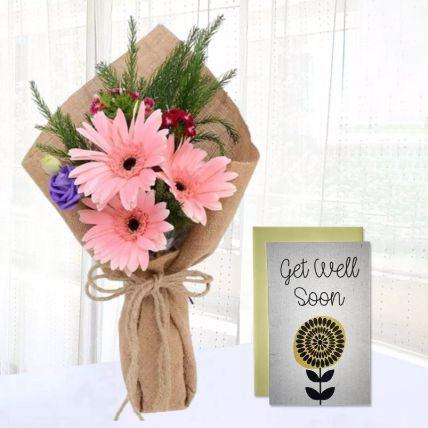 Pink Gerbera Chic Bunch & Handmade Get Well Soon Card