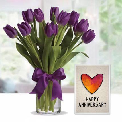 Purple Tulip Arrangement & Handmade Anniversary Greeting Card