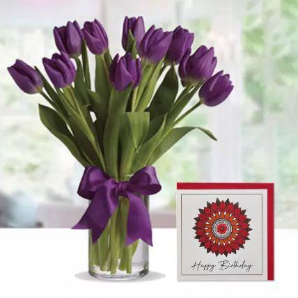 Purple Tulip Arrangement & Handmade Birthday Greeting Card
