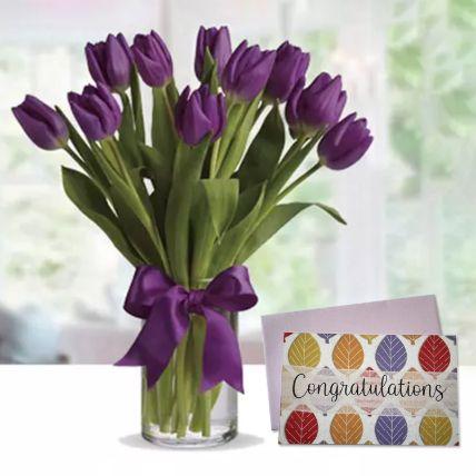 Purple Tulip Arrangement & Handmade Congratulations Greeting Card