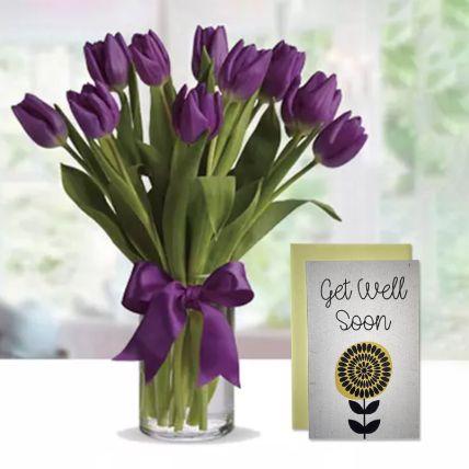 Purple Tulip Arrangement & Handmade Gel Well Soon Greeting Card