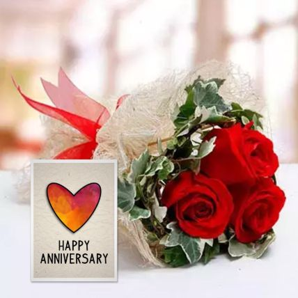 Red Roses Bouquet & Handmade Anniversary Greeting Card