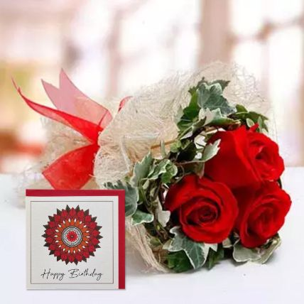 Red Roses Bouquet & Handmade Birthday Greeting Card