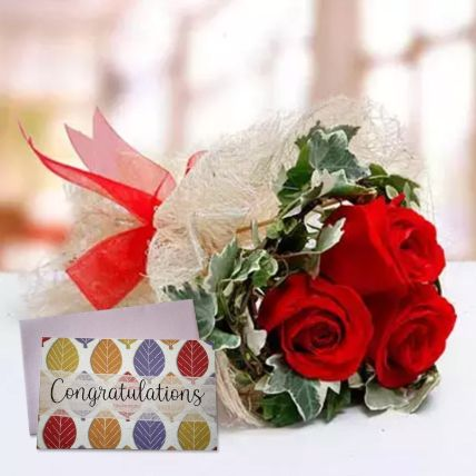 Red Roses Bouquet & Handmade Congratulations Greeting Card