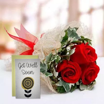 Red Roses Bouquet & Handmade Get Well Soon Greeting Card