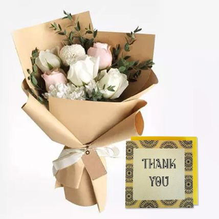 Sweet Roses Bouquet With Handmade Thank You Card