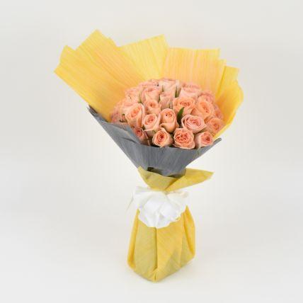 35 Peach Rose Bouquet
