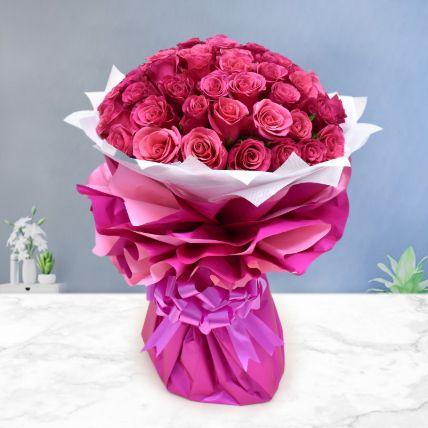 Majestic 50 Dark Pink Roses
