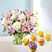 Pink and White Floral Bunch With Cup Cakes