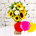 Sunflower Galore Bunch With Balloons