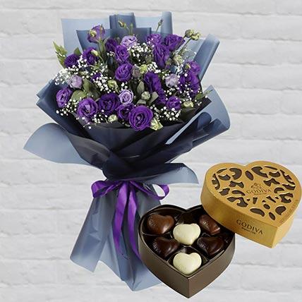 Purple Lisianthus & Godiva Chocolates 250 gms