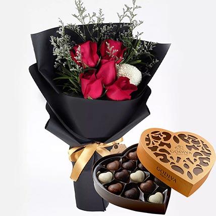 Romantic Red Roses & Godiva Chocolates 500 gms