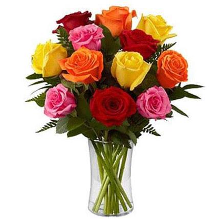 Dozen Mix Roses in a Glass SA