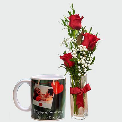 Lovable Roses And Personalised Mug