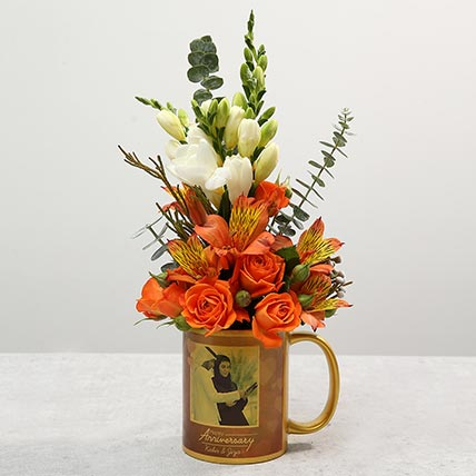 Personalised Anniversary Mug With Orange Rose Flower Arrangement