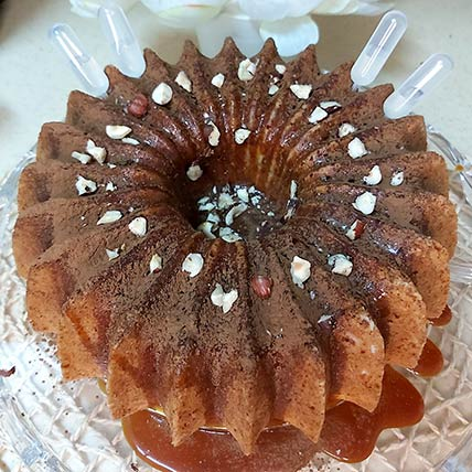 Spongy Carrot Nut Cake With Caramel Sauce