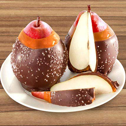 Chocolate Covered Caramel Dipped Pears Duo