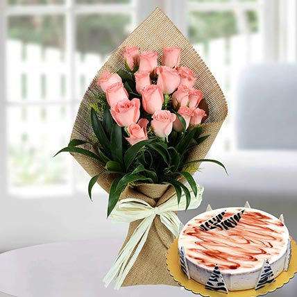 16 Baby Pink Roses & Choco Vanilla Cake 4 Portions
