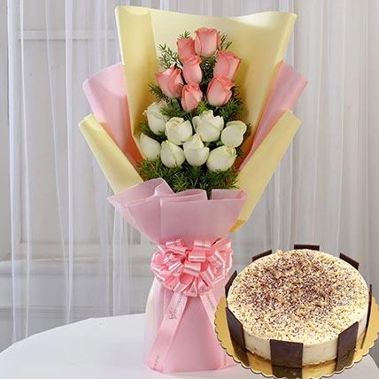 Pink White Roses & Tiramisu Cake 8 Portions