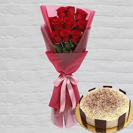 10 Red Roses & Tiramisu Cake 8 Portions