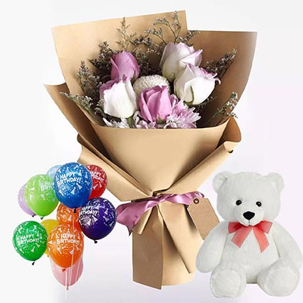 Adorable Flowers & Soft Toy Combo