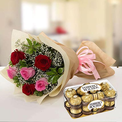 Beautiful Roses & Ferrero Rocher 16 Pcs