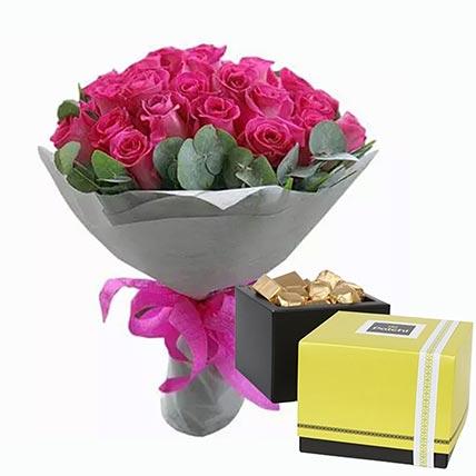 Dark Pink Roses Bunch & Patchi Chocolates 500 gms