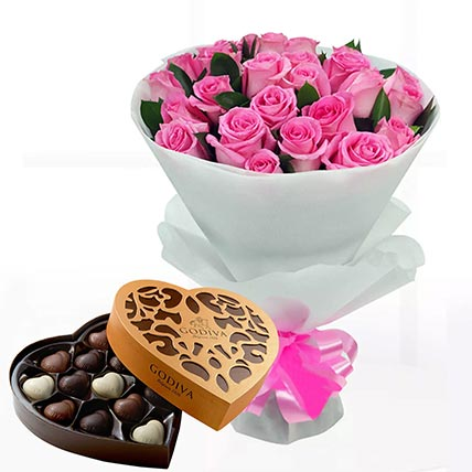 Delicate Pink Roses & Godiva Chocolates 500 gms