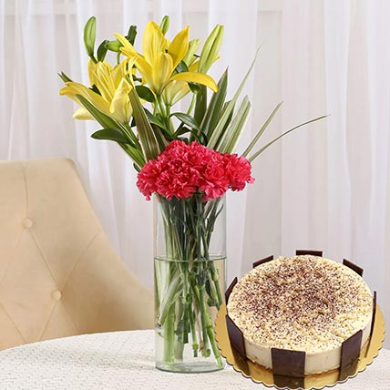 Happy Flowers & Tiramisu Cake 12 Portions