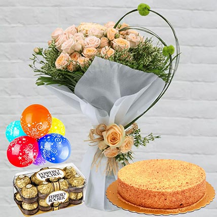 Honey Cake With Peach Roses Combo