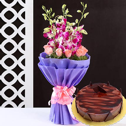 Lovely Flower Bunch & Choco Ganache Cake 12 Portions