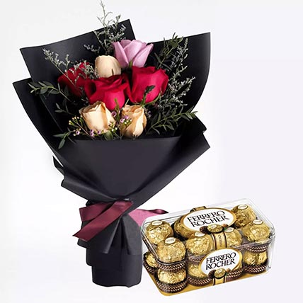 Mixed Roses Posy & Ferrero Rocher 16 Pcs